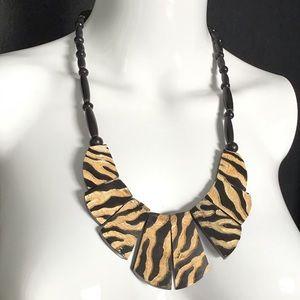 Vintage Tribal Zebra Caved Bone Bib Necklace